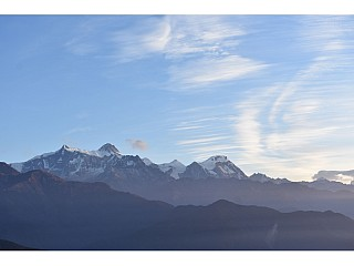 Early morning view of the Annapurna Range after sunrise