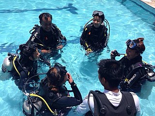Before Scuba dive, training