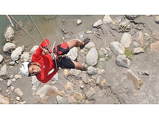 Bridge Swing at Royal Beach Camp Nepal. Contact them