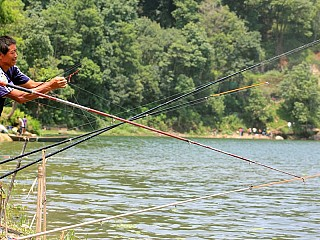 Fishing at Phewa Lake Pokhara