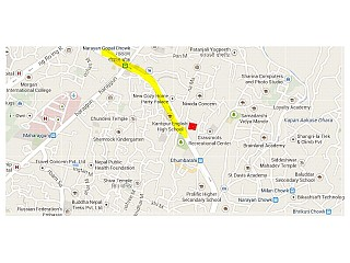 Red mark represents the Center, it lies at Ring Road and near by Narayan Gopal Chowk