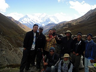 The whole team on way to Thorang Phedi on Day 5