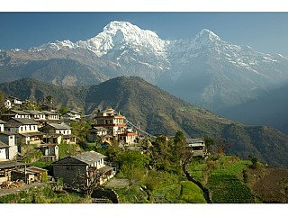 beautiful view of village and annapurna