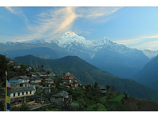 sun light on the peak of annapurna