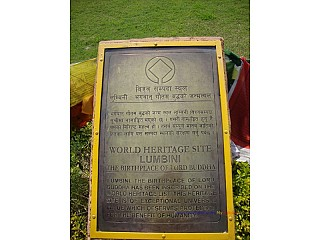 8.The UNESCO's inscription saying Lumbini, the birthplace of Lord Buddha as a World Heritage Site