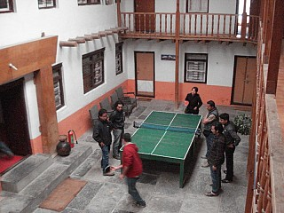 Enjoying Table Tennis at our Om Hotel Jomsom
