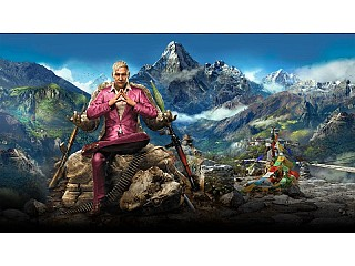 Farcry 4 Game cover picture, In the background you can see Nepal Himalayas, Monastery and Praying Flags.