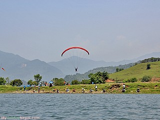 Fisherman on the banks of Phewa Lake Pokhara