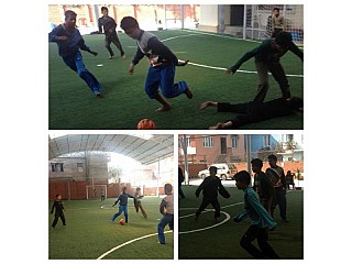 Local kids playing futsal at Maidan