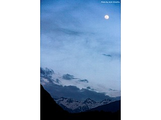 Mountain ranges in moonlight