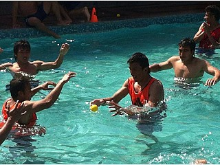 National Football team members enjoying at Swimming Pool