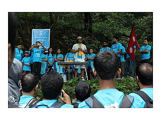Nepali Film Star Mr.Rajesh Hamal during the inauguration of the first hiking event