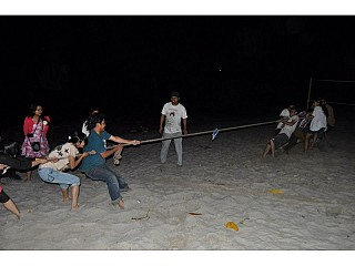 Playing Tug of War at Sukute beach nepal