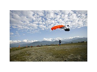 Safe landing after Skydive at Nepal