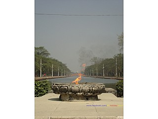 The Eternal Flame with the central canal and Peace Stupa
