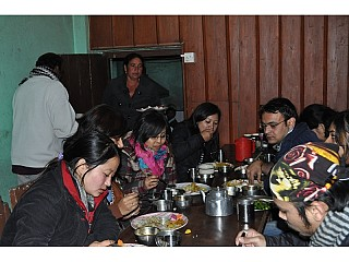 Typical Nepali set dinner time at Chisapani