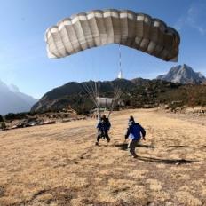Safe landing after sky dive at Everest nepal