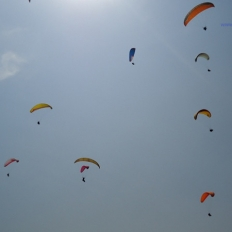 blue sky and paragliding