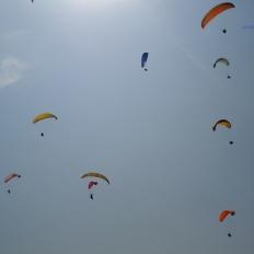 blue sky and paragliding